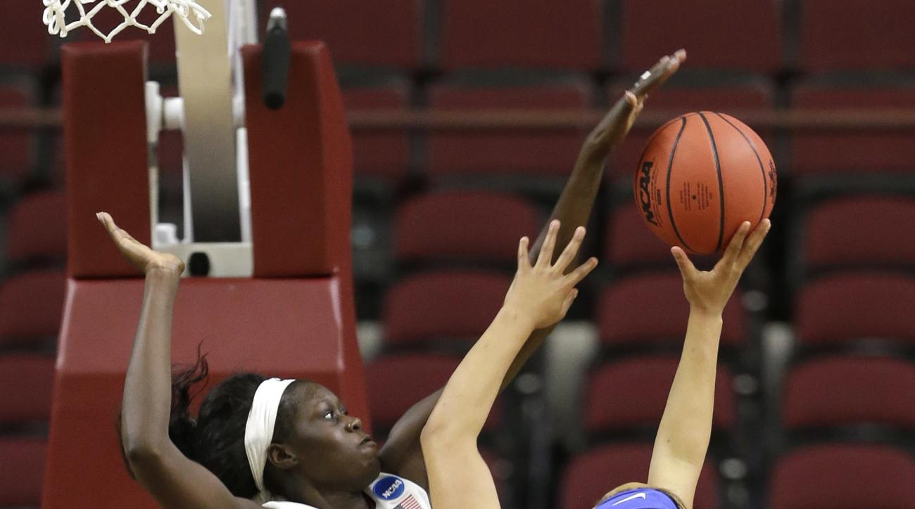 Florida State's Adut Bulgak (2) blocks the shot of Middle Tennessee's Brea Edwards (12) during the second half of a first-round women's college basketball game in the NCAA Tournament Saturday, March 19, 2016, in College Station, Texas. Florida State won 7