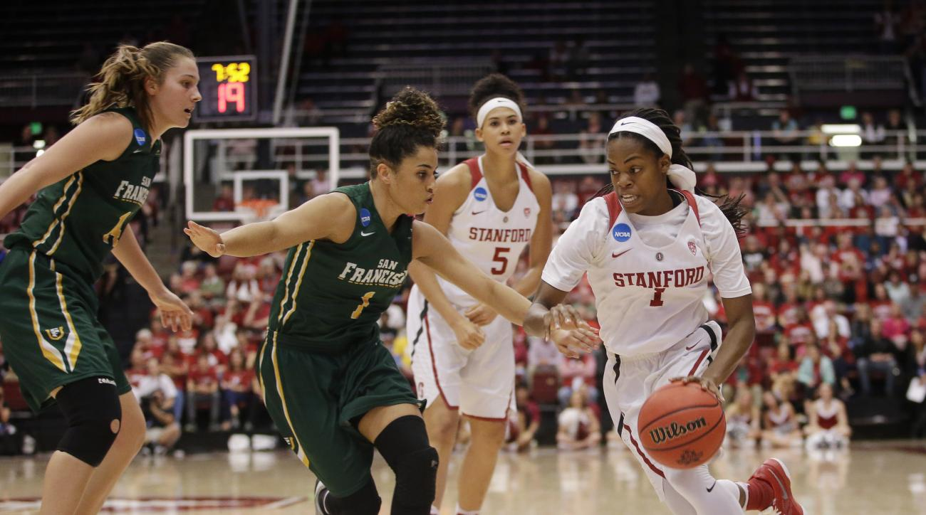 Stanford guard Lili Thompson, right, dribbles next to San Francisco guard Zhane Dikes (1) in the first half of a first-round women's college basketball game in the NCAA Tournament Saturday, March 19, 2016, in Stanford, Calif.  (AP Photo/Marcio Jose Sanche