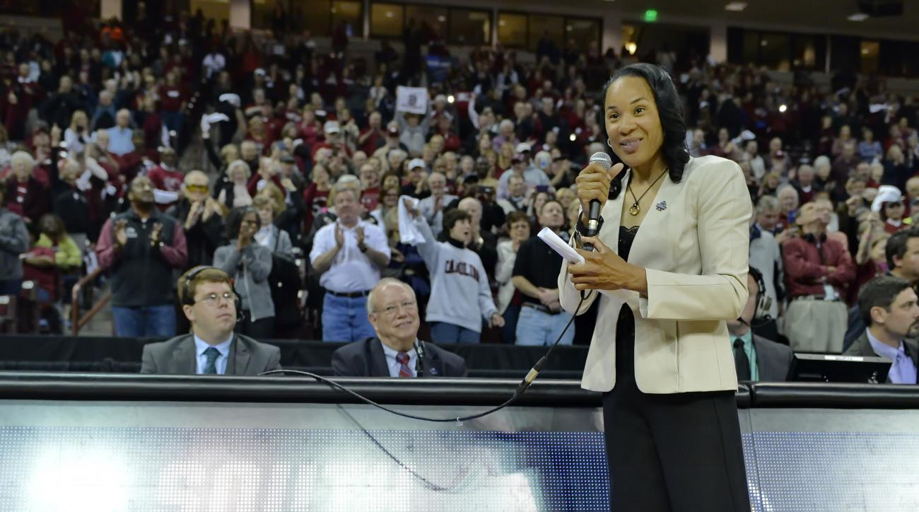 South Carolina head coach Dawn Staley speaks to the fans after a second-round women's college basketball game against Kansas State in the NCAA Tournament Sunday, March 20, 2016, in Columbia, S.C. South Carolina won 73-47.  (AP Photo/Richard Shiro)