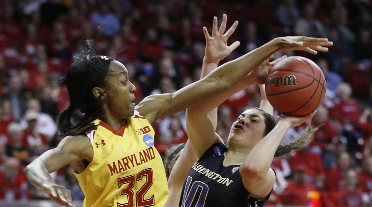 Maryland guard Shatori Walker-Kimbrough, left, attempts to block a shot-attempt by Washington guard Kelsey Plum in the first half of an NCAA college basketball game in the second round of the NCAA tournament, Monday, March 21, 2016, in College Park, Md. (