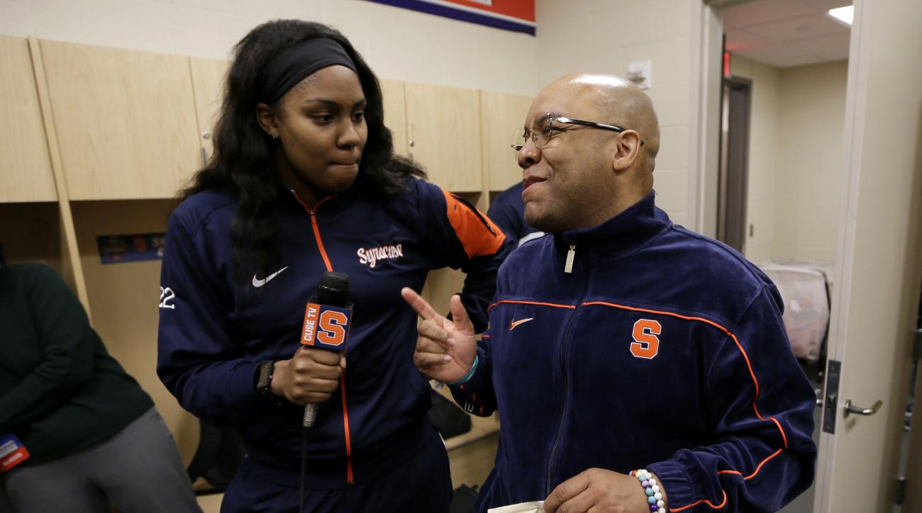 Syracuse forward Taylor Ford interviews head coach Quentin Hillsman, right, in the locker room ahead of a regional final women's college basketball game in the NCAA Tournament, Saturday, March 26, 2016, in Sioux Falls, S.D. Syracuse will play Tennessee on