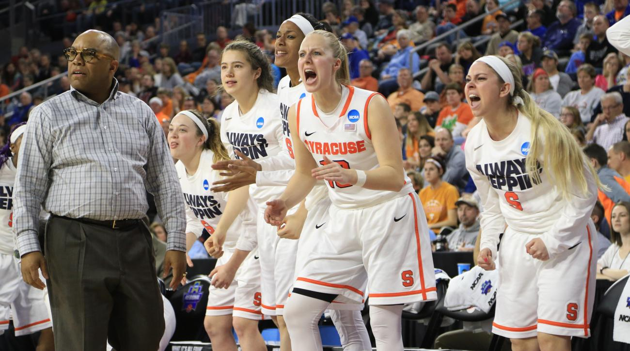 Syracuse's Isabella Slim (10) and other players on the bench cheer after a three point during a women's college basketball regional final against Tennessee in the NCAA Tournament in Sioux Falls, S.D., Sunday, March 27, 2016. (AP Photo/Nati Harnik)
