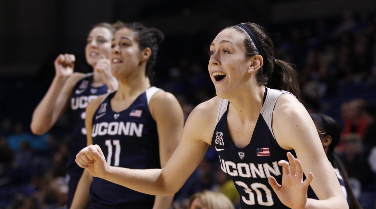 FILE - In this Jan. 27, 2016, file photo, Connecticut's Breanna Stewart celebrates her team's play during the second half of an NCAA college basketball game against Tulsa in Tulsa, Okla. Stewart has earned The Associated Press All-America honors three tim
