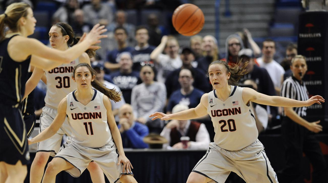 FILE - In this Dec. 5, 2013, file photo, Connecticut's Briana Pulido (11), and Tierney Lawlor (20) defend against UC Davis during the second half of an NCAA college basketball game in Hartford, Conn. After walking on to the team three years ago, the pair,