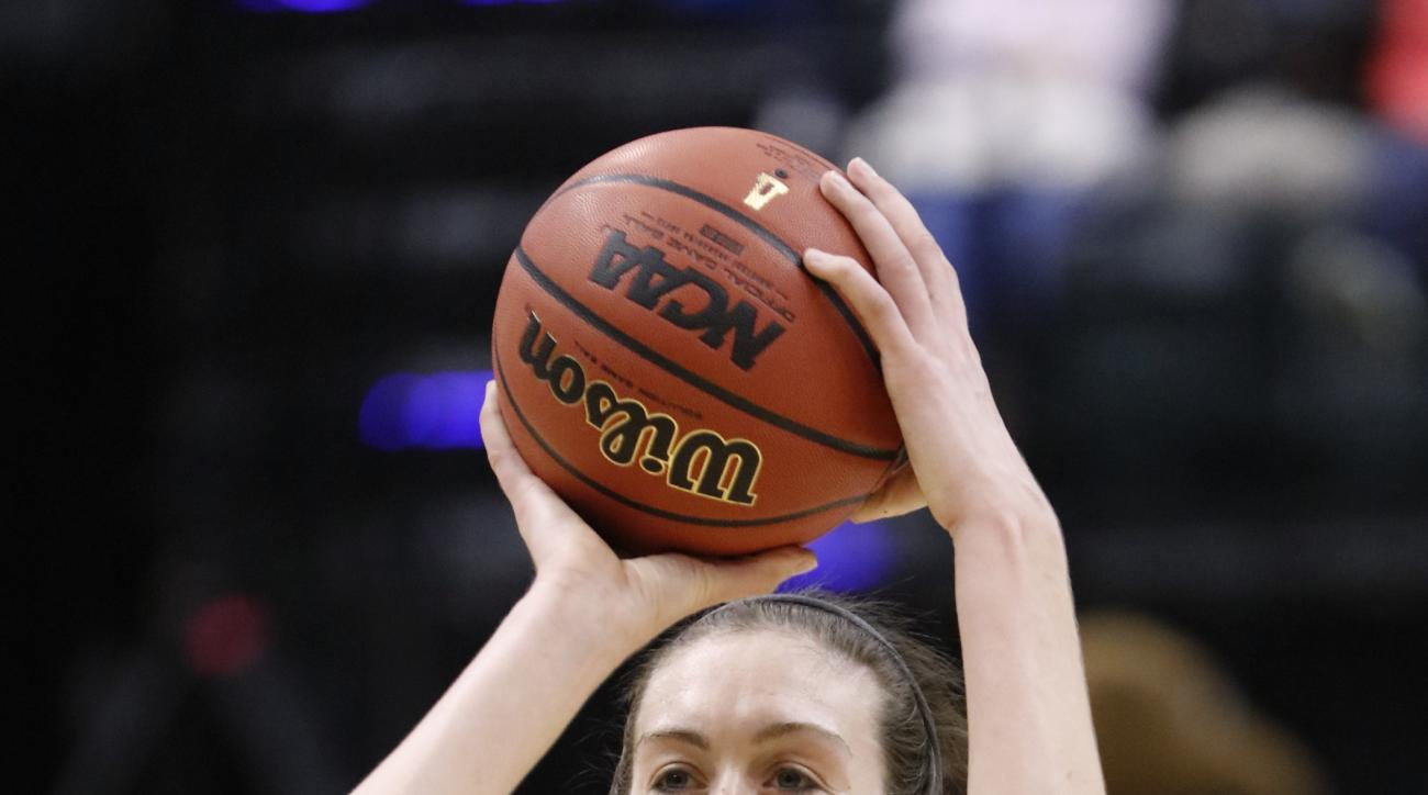 Connecticut's Breanna Stewart (30) shoots during college basketball practice at the women's Final Four in the NCAA Tournament Saturday, April 2, 2016, in Indianapolis. (AP Photo/AJ Mast)