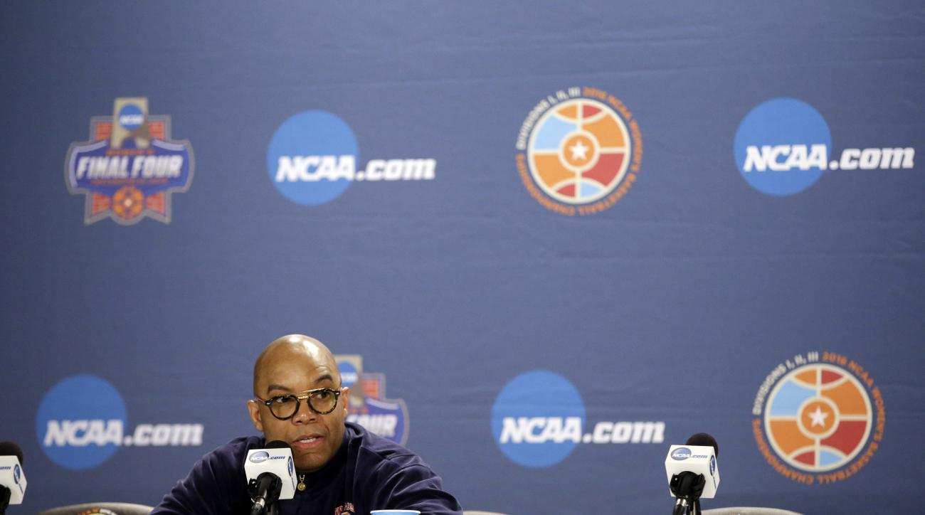 Syracuse head coach Quentin Hillsman responds to a question during a news conference at the women's Final Four in the NCAA college basketball tournament Monday, April 4, 2016, in Indianapolis. Connecticut will play Syracuse in the championship game on Tue
