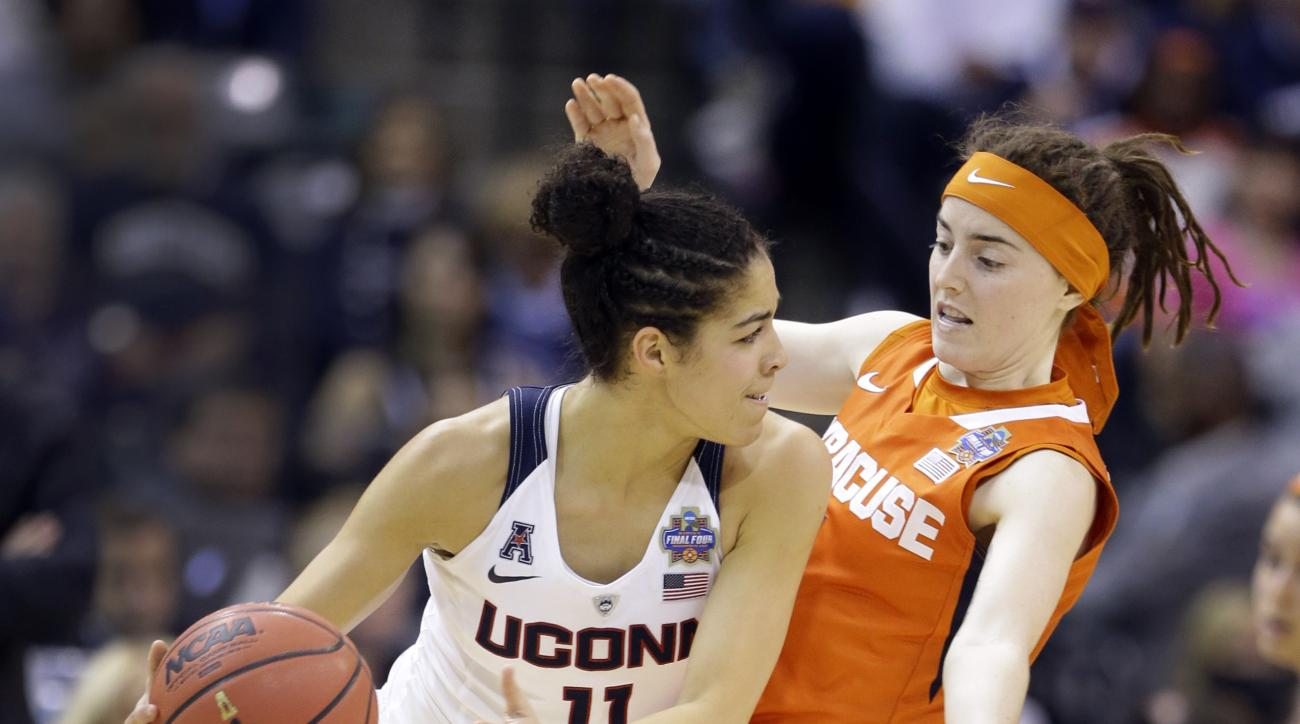 Connecticut's Kia Nurse, left, looks to pass around Syracuse's Maggie Morrison during the second half of the championship game at the women's Final Four in the NCAA college basketball tournament Tuesday, April 5, 2016, in Indianapolis. (AP Photo/Michael C