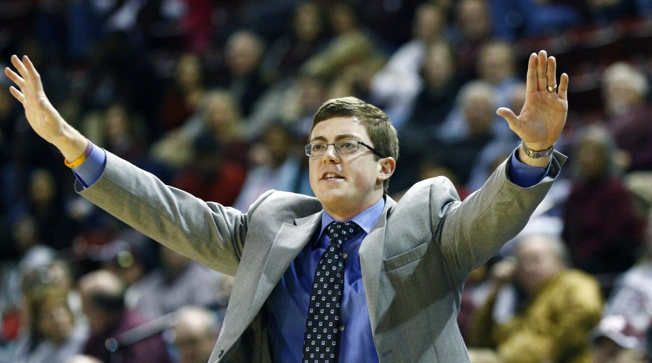 FILE - In this Dec. 11, 2014, file photo, Louisiana Tech women's basketball coach Tyler Summitt signals to his players during an NCAA college basketball game against Mississippi State in Starkville, Miss. Tyler Summitt has resigned as Louisiana Tech women