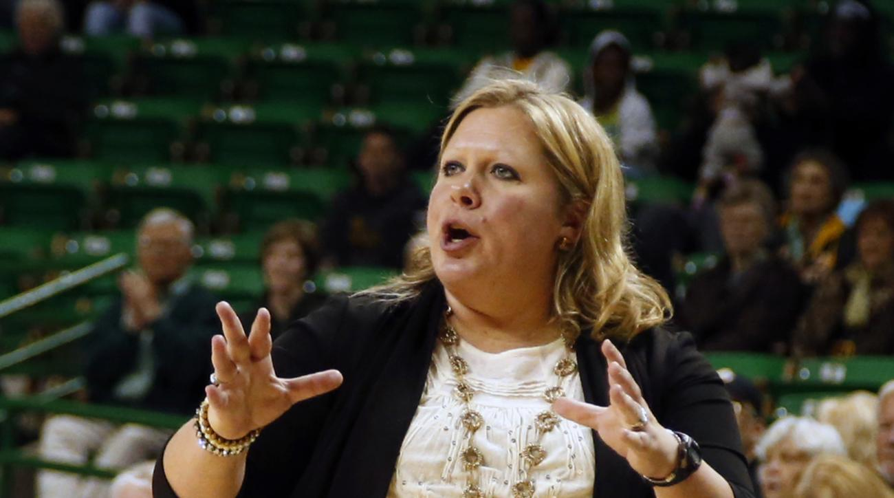 McNeese State  head women coach Brooks Donald-Williams reacts to a play against Baylor in the first half of an NCAA college basketball game, Sunday, Dec. 13, 2015, in Waco, Texas. (AP Photo/Rod Aydelotte)