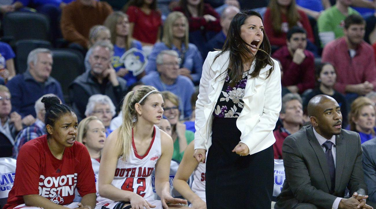 FILE - In this March 10, 2015, file photo, South Dakota head coach Amy Williams yells to her team during an NCAA college basketball game against South Dakota State in the championship of the Summit League tournament in Sioux Falls, S.D. South Dakotas Amy