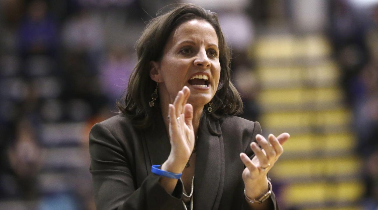 Hartford head coach Jennifer Rizzotti reacts during the second half of her team's 61-52 loss to Albany in their NCAA college basketball game in the championship of the America East Conference tournament on, Saturday, March 16, 2013, in Albany, N.Y. (AP Ph