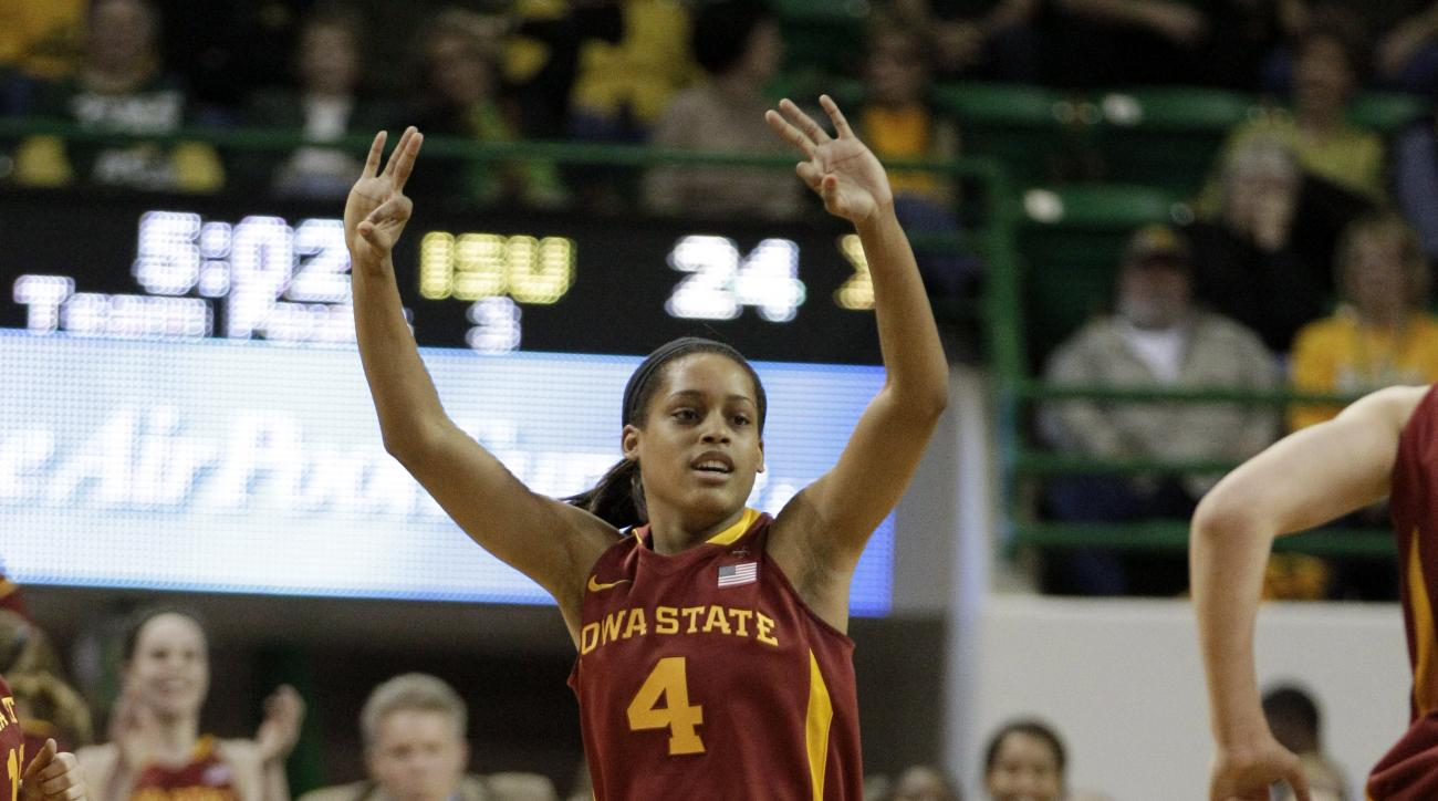 Iowa State 's Nikki Moody (4) celebrates a 3-point-basket by her team in the first half of an NCAA college basketball game against Baylor Saturday, March 3, 2012, in Waco, Texas. Baylor won 77-53. (AP Photo/Tony Gutierrez)