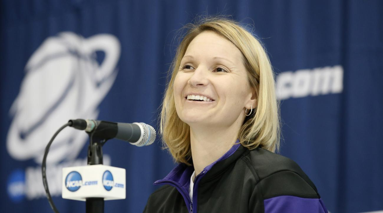 Northwestern State head coach Brooke Stoehr responds to a question from reporters during a news conference for the first round of the NCAA women's college basketball tournament Thursday, March 19, 2015, in Waco, Texas. Northwestern State will play Baylor