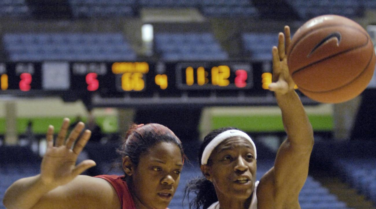 FILE - In this Tuesday, Dec. 30, 2008 file photo, North Carolina's Rashanda McCants, right, reaches for a loose ball over Austin Peay's Jasmine Rayner, left, during the second half of an NCAA college women's basketball game in Chapel Hill, N.C.  An attorn