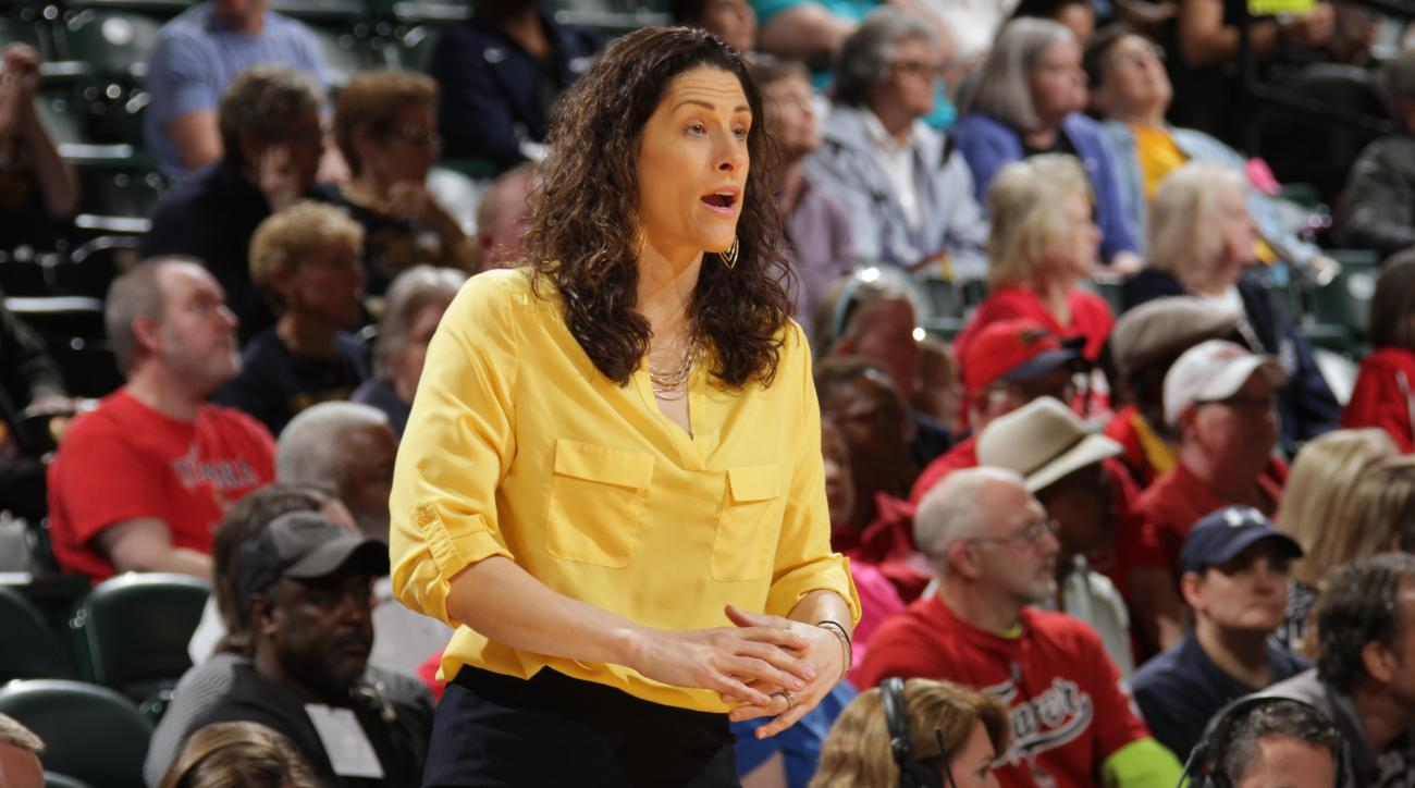 INDIANAPOLIS, IN - MAY 20:  Head Coach Stephanie White of the Indiana Fever looks on against the Atlanta Dream on May 20, 2016 at Bankers Life Fieldhouse in Indianapolis, Indiana. (Photo by Ron Hoskins/NBAE via Getty Images)
