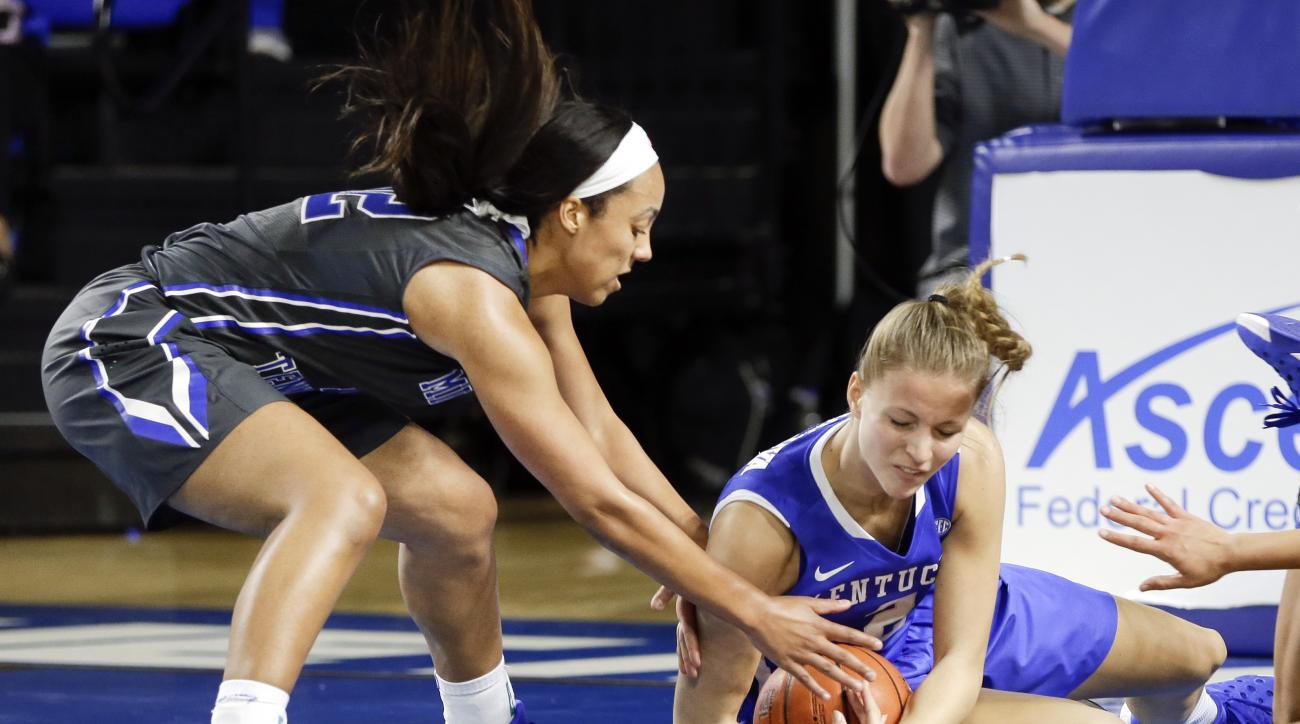 Middle Tennessee guard Brea Edwards, left, battles Kentucky center Ivana Jakubcova, right, for a loose ball in the second half of an NCAA college basketball game Sunday, Dec. 13, 2015, in Murfreesboro, Tenn. (AP Photo/Mark Humphrey)