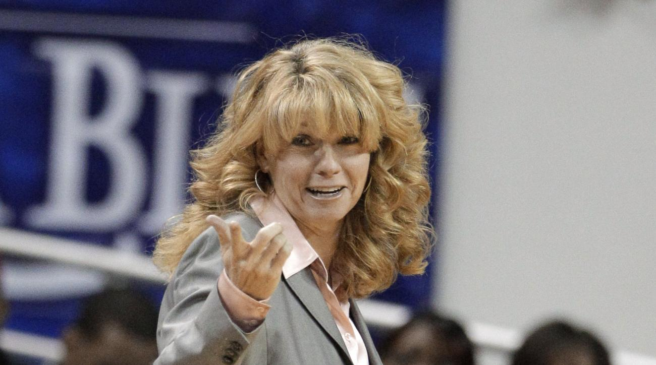 RETRANSMISSION TO CORRECT SPELLING OF FIRST NAME - FILE - In this Monday, Feb. 6, 2012 file photo, Oklahoma head coach Sherri Coale motions to an official in the second half of an NCAA women's college basketball game against Baylor in Waco, Texas. Sherri