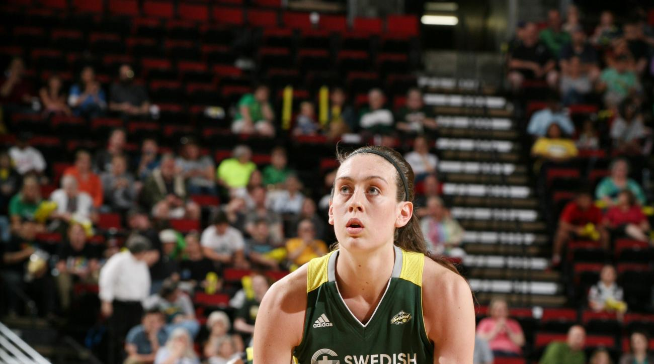 SEATTLE, WA - JUNE 19:  Breanna Stewart #30 of the Seattle Storm shoots a free throw against the Minnesota Lynx on June 19, 2016 at Key Arena in Seattle, Washington. (Photo by Joshua Huston/NBAE via Getty Images)