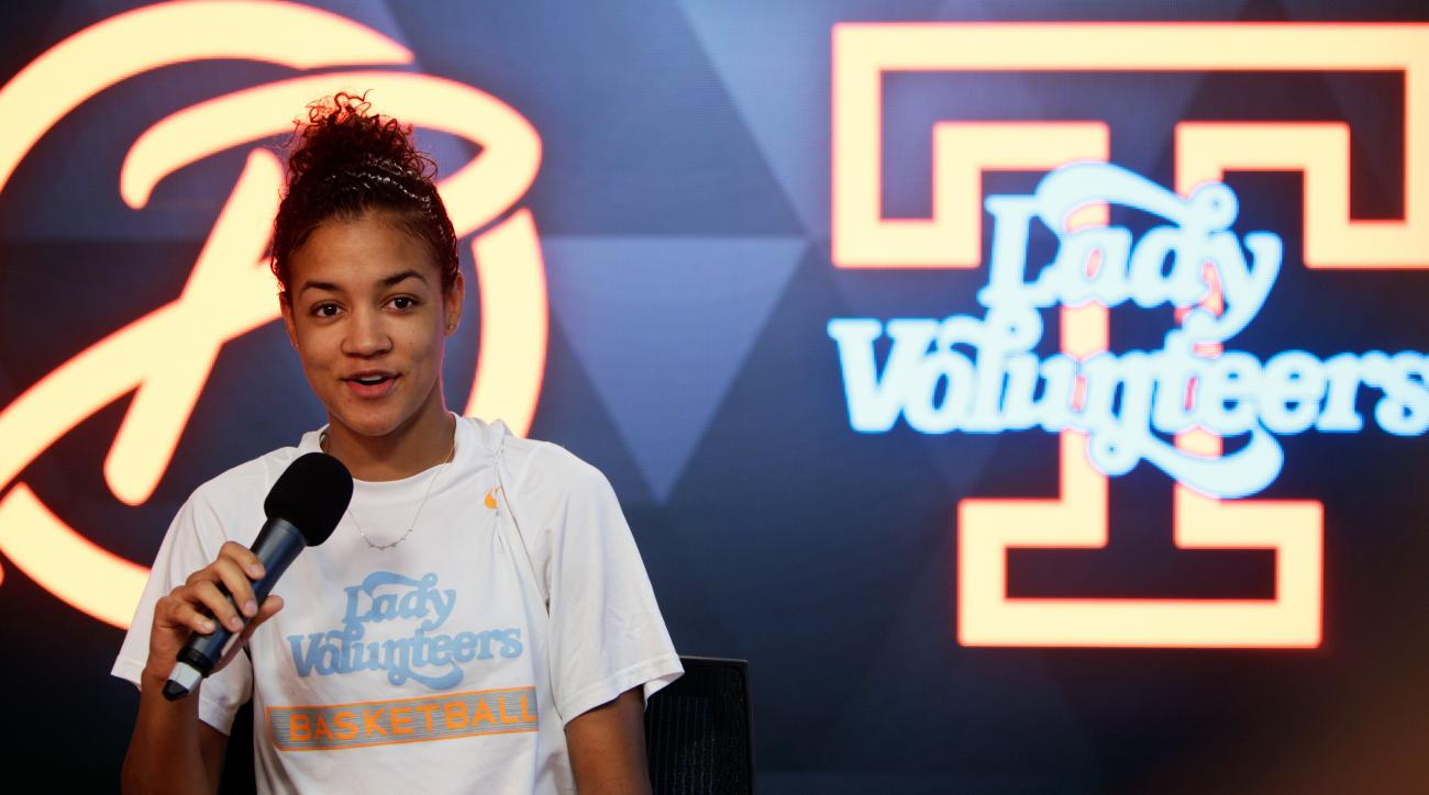 University of Tennessee Lady Vol basketball player Andraya Carter speaks about Pat Summitt Tuesday, June 28, 2016, in Knoxville, Tenn. Pat Summitt, the winningest coach in Division I college basketball history who lifted the women's game to national promi