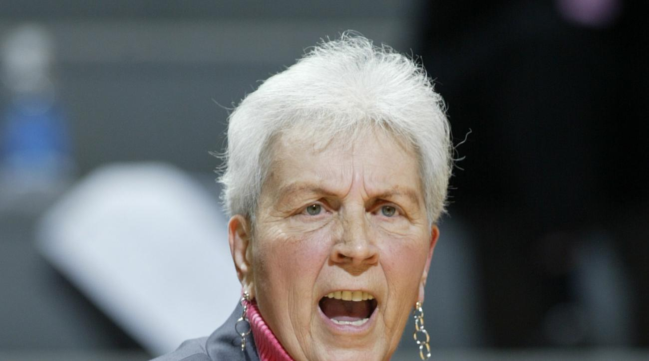 ** FILE ** In this April 2, 2008 file photo, North Carolina State women's basketball coach Kay Yow encourages her team during the first half of a semifinal basketball game of the women's NIT against Michigan State  in East Lansing, Mich. Yow, 66, died Sat