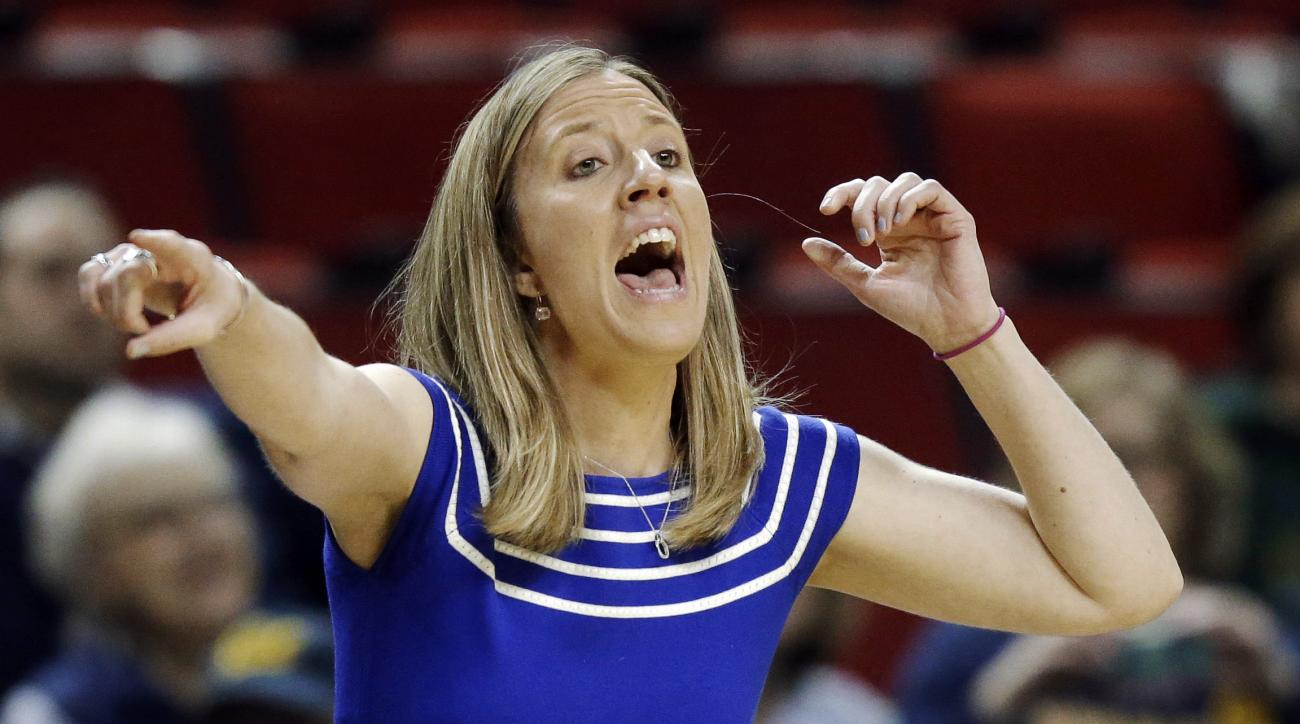California head coach Lindsay Gottlieb calls to her team in the first half of an NCAA college basketball game against Utah in the Pac-12 Conference tournament, Thursday, March 3, 2016, in Seattle. (AP Photo/Ted S. Warren)