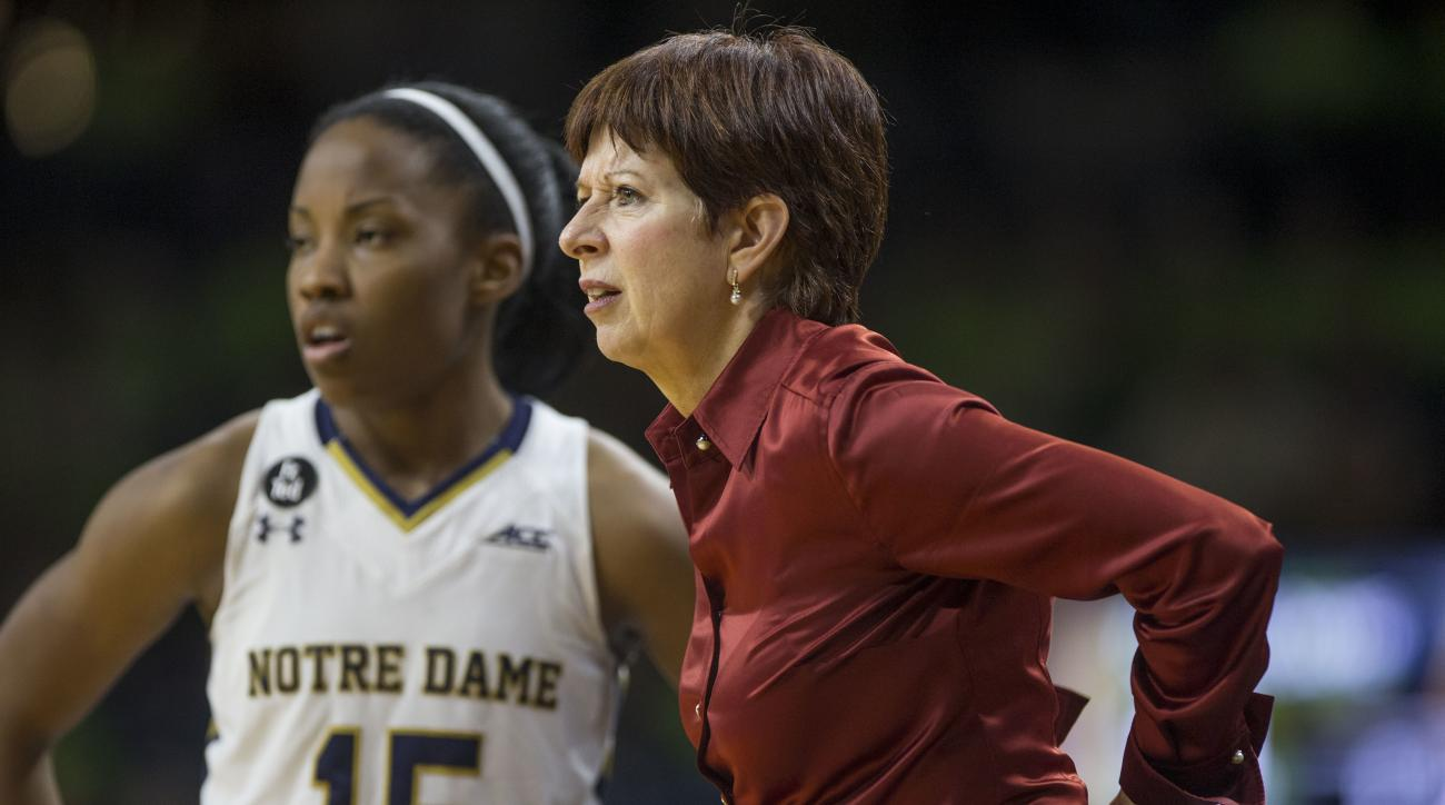 FILE - In this Nov. 18, 2015, file photo, Notre Dame head coach Muffet McGraw looks on with Lindsay Allen (15) in the second half of an NCAA college basketball game against Toledo in South Bend, Ind. Three-time defending champion Notre Dame is the pick to
