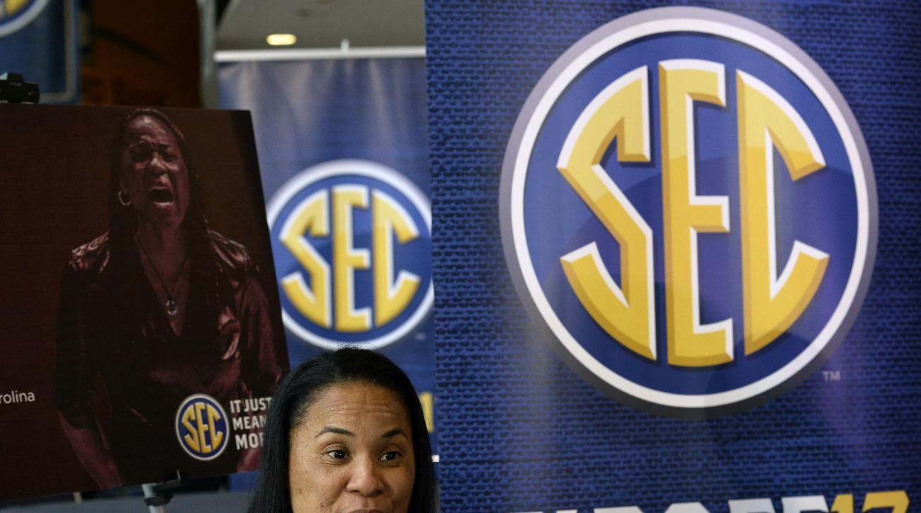 South Carolina coach Dawn Staley answers a question during the Southeastern Conference women's NCAA college basketball media day, Thursday, Oct. 20, 2016, in Nashville, Tenn. (AP Photo/Mark Zaleski)