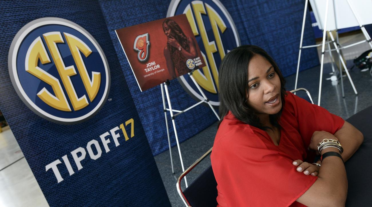 Georgia coach Joni Taylor answers a question during the Southeastern Conference women's NCAA college basketball media day, Thursday, Oct. 20, 2016, in Nashville, Tenn. (AP Photo/Mark Zaleski)
