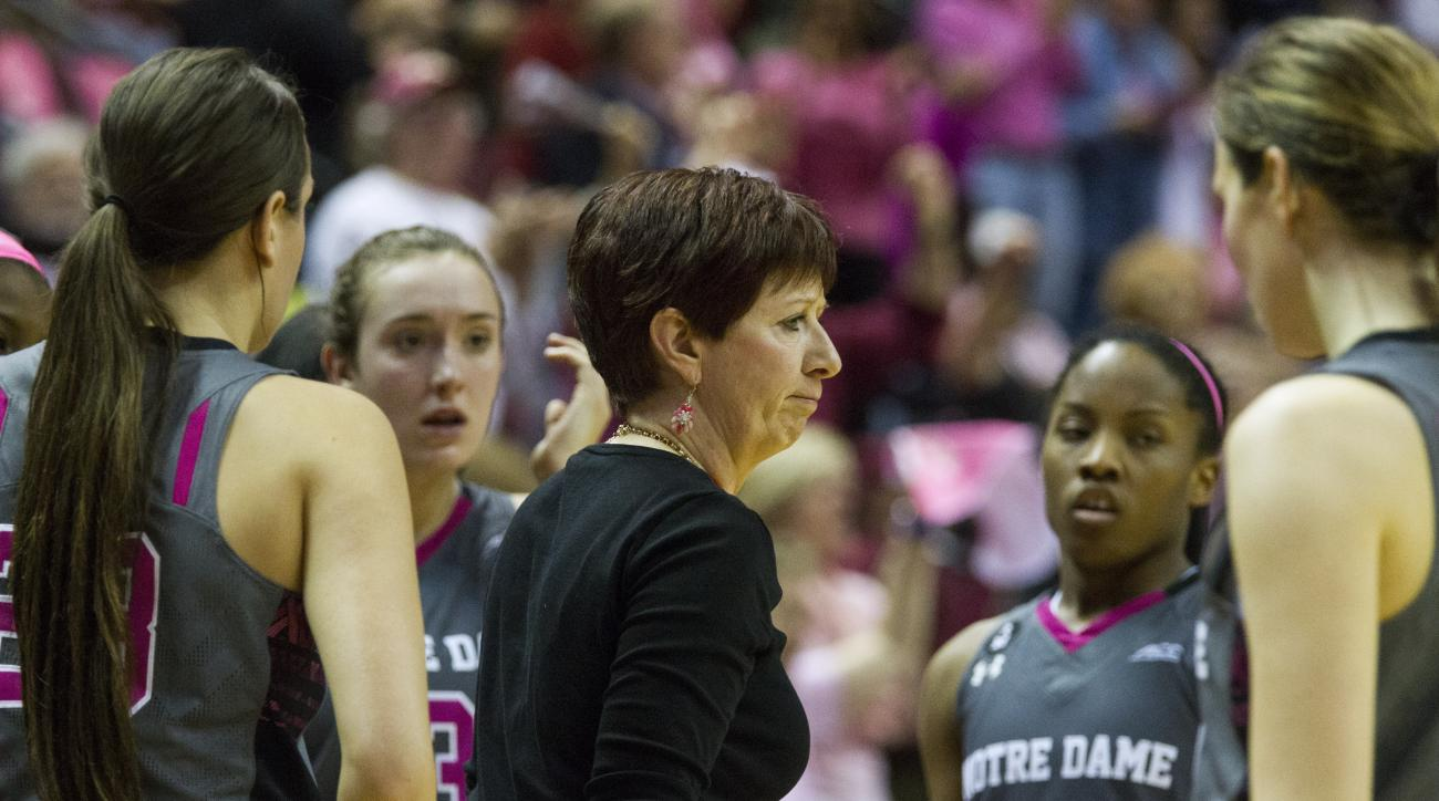 Notre Dame head coach Muffet McGraw talks to her players in the second half of an NCAA college basketball game against Florida State in Tallahassee, Fla., Monday, Feb. 22, 2016. Notre Dame defeated Florida State 73-66. (AP Photo/Mark Wallheiser)