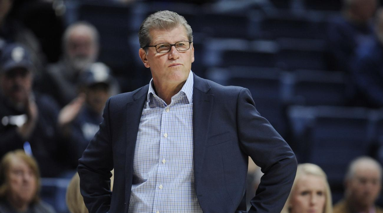 In this Tuesday, Nov. 1, 2016 photo, Connecticut head coach Geno Auriemma watches play during an NCAA college basketball exhibition game against Indiana University of Pennsylvania in Storrs, Conn. UConn enters the season on a 75-game winning streak, but i