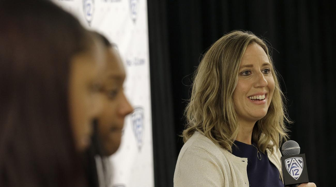 FILE - In this Thursday, Oct. 20, 2016, file photo, California head coach Lindsay Gottlieb, right, speaks during the Pac-12 NCAA college basketball media day in San Francisco. Gottlieb pulled off quite the surprise with her players Saturday, Nov. 5 : She'
