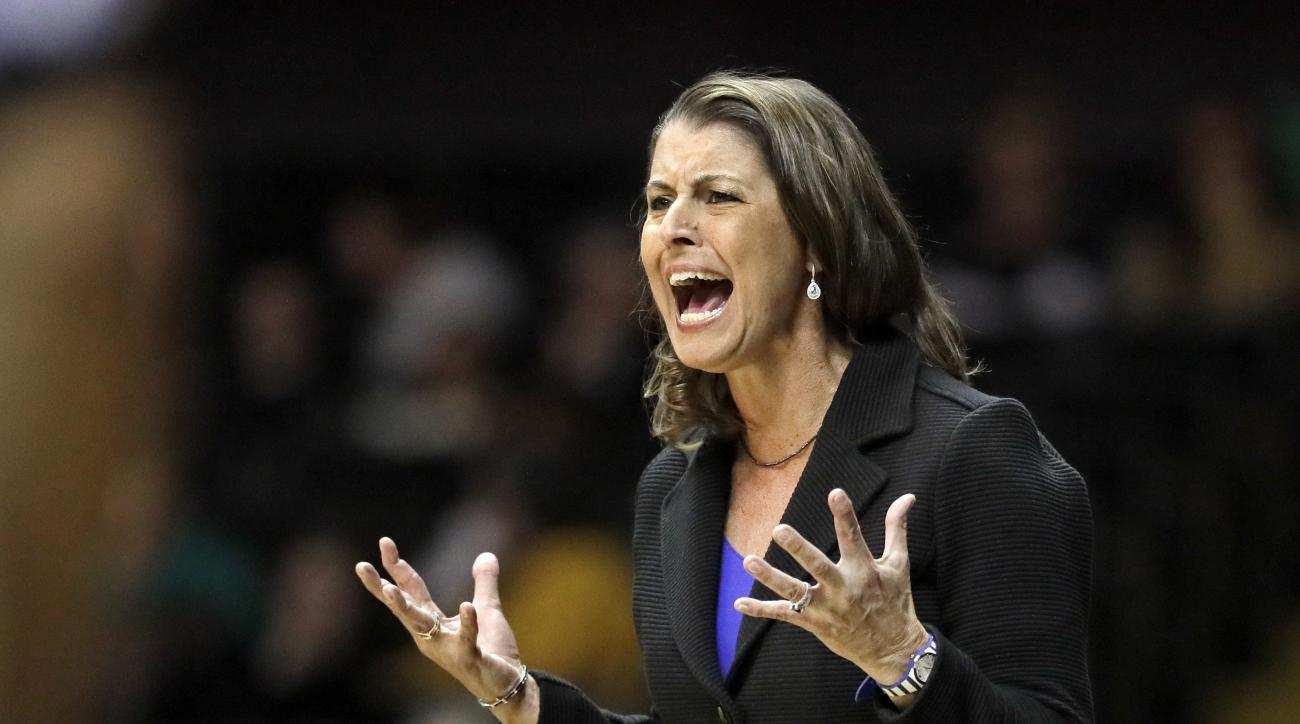 Duke head coach Joanne McCallie yells to her players in the first half of an NCAA college basketball game against Vanderbilt, Sunday, Nov. 20, 2016, in Nashville, Tenn. (AP Photo/Mark Humphrey)