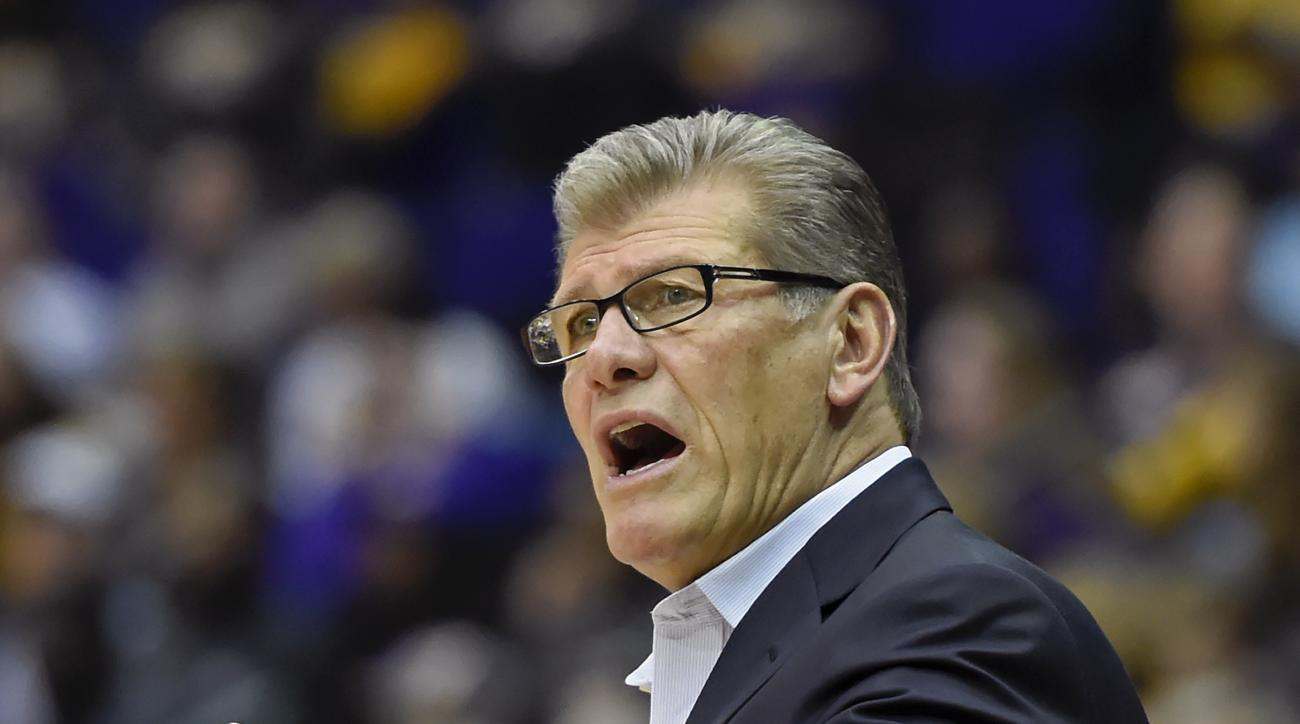 Connecticut head coach Geno Auriemma shouts instructions to his players in the first half of an NCAA college basketball game in Baton Rouge, La., Sunday, Nov. 20, 2016. (AP Photo/Bill Feig)