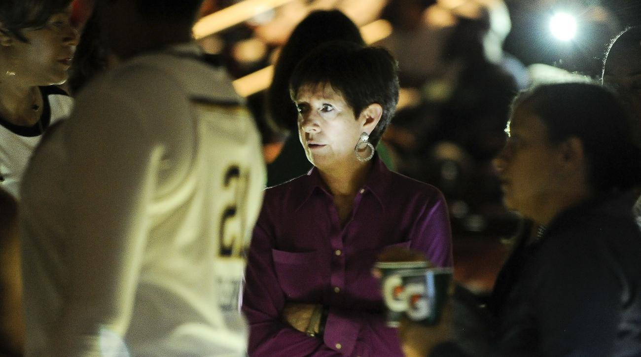 Notre Dame head coach Muffet McGraw, center, speaks to her players after play was stopped due to a power outage during the first half of an NCAA college basketball game against Louisiana Lafayette, Tuesday, Nov. 22, 2016, in Houston. (AP Photo/Eric Christ