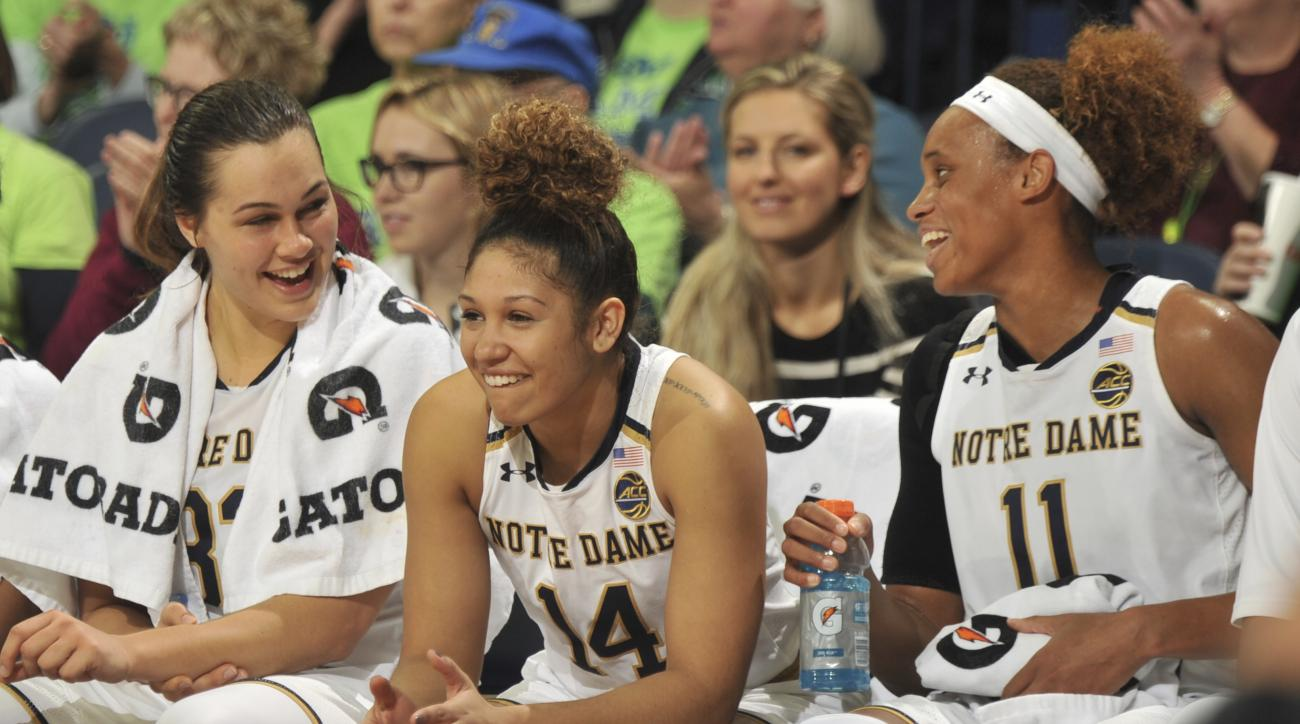 Notre Dame players, from left, Kathyrn Westbeld, Mychal Johnson and Brianna Turner sit on the bench during an NCAA college basketball game against TCU, Saturday Nov. 26, 2016 in South Bend, Ind. Notre Dame won 92-59. (AP Photo/Joe Raymond)