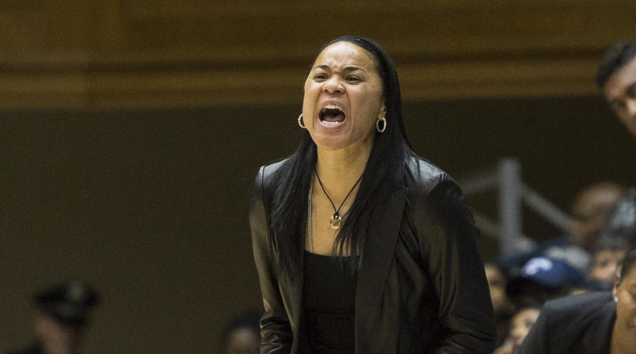 South Carolina head coach Dawn Staley shouts to her players during the second half of an NCAA college basketball game against Duke in Durham, N.C., Sunday, Dec. 4, 2016. (AP Photo/Ben McKeown)