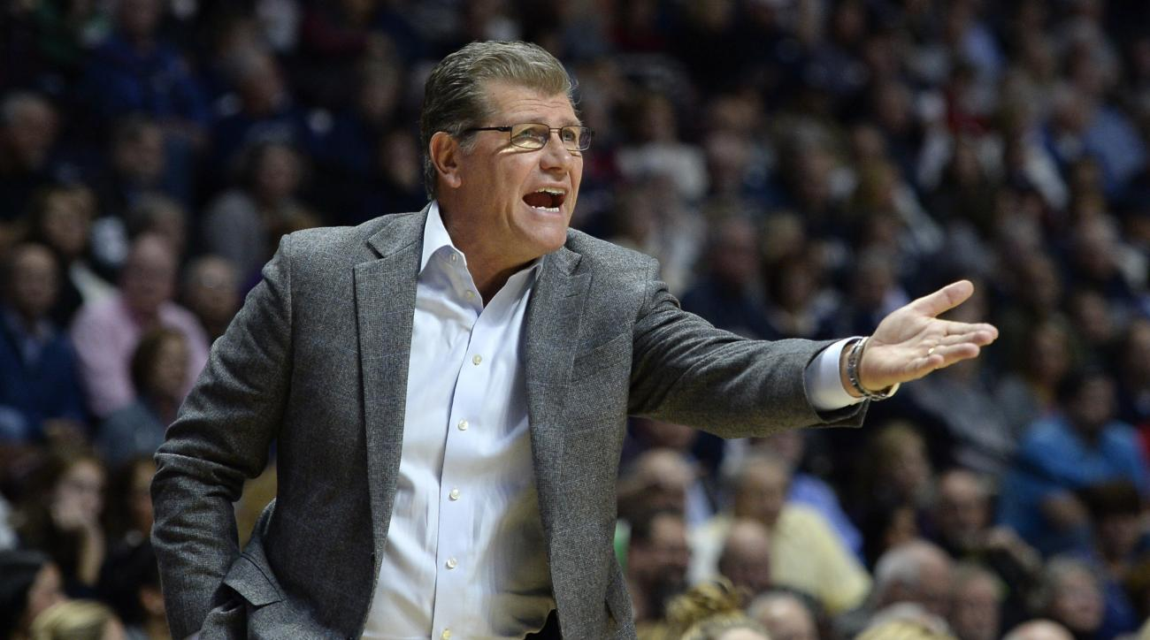Connecticut head coach Geno Auriemma reacts in the first half of an NCAA college basketball game against Texas, Sunday, Dec. 4, 2016, in Uncasville, Conn. (AP Photo/Jessica Hill)