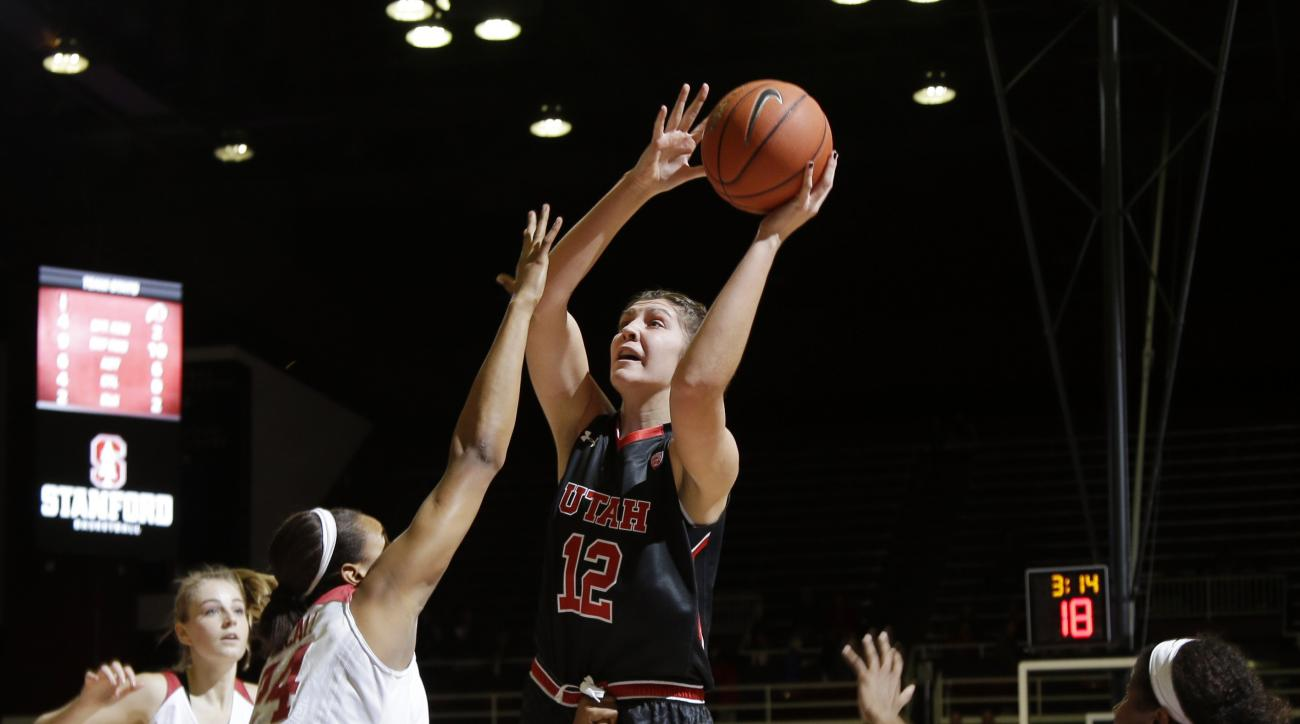FILE- In this Jan. 8, 2016, file photo, Utah forward Emily Potter (12) shoots against Stanford during the first half of an NCAA college basketball game in Stanford, Calif. Utah beat Northern Arizona 78-65 on Wednesday, Dec. 21, as junior forward Emily Pot