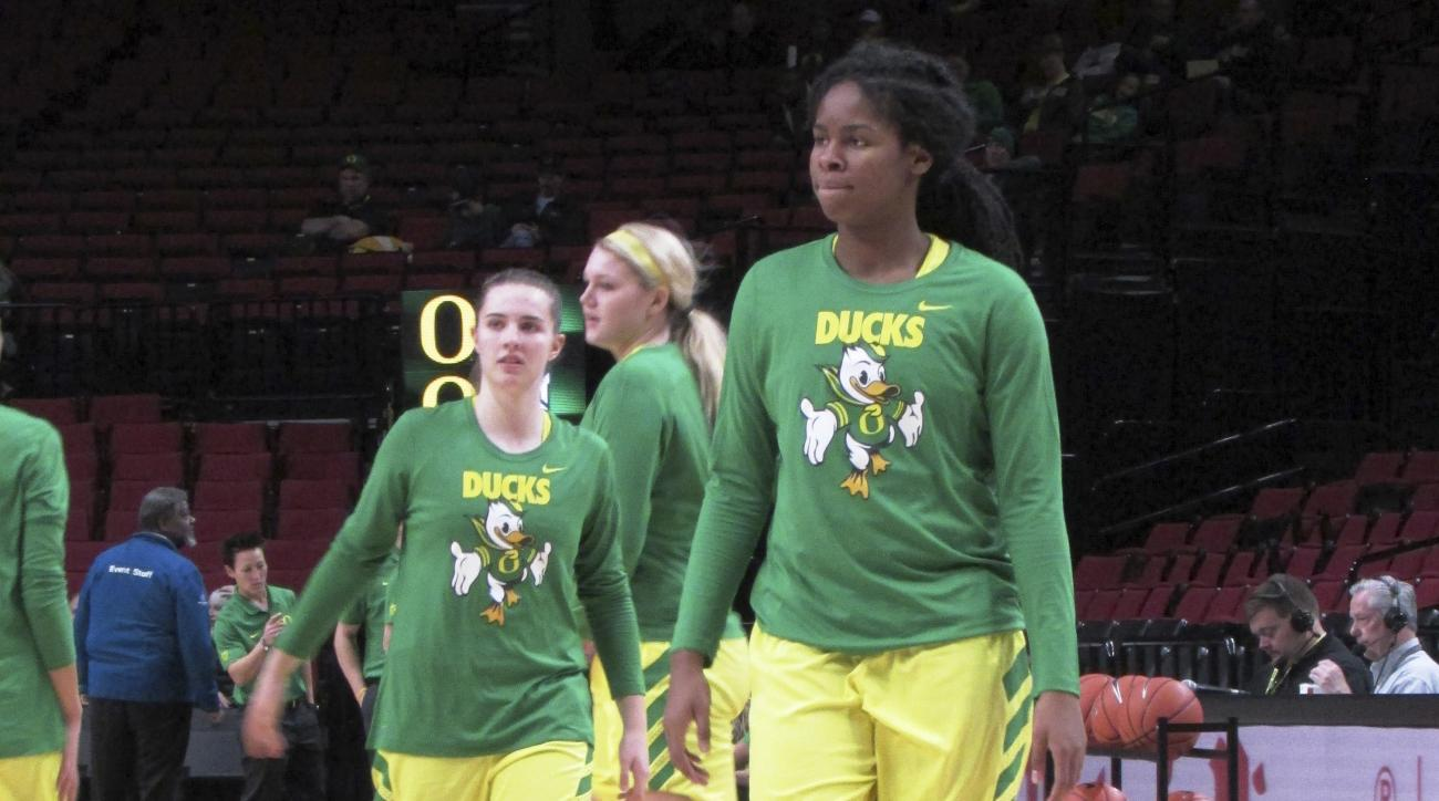 In this Dec. 17, 2016, photo, Oregon forward Ruthy Hebard practices with the team before an NCAA college basketball game against Portland State in Portland, Ore. The freshman forward grew up in Fairbanks, Alaska. She was a prep standout there, but to deve