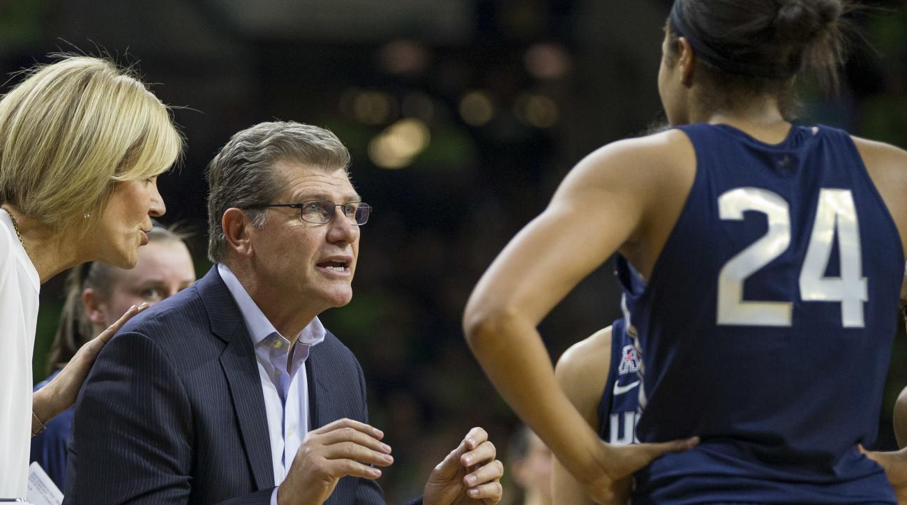 FILE - In this Dec. 7, 2016, file photo, Connecticut head coach Geno Auriemma talks to his team during a timeout in an NCAA college basketball game against Notre Dame in South Bend, Ind. Geno Auriemma didn't expect his UConn Huskies to be undefeated as 20
