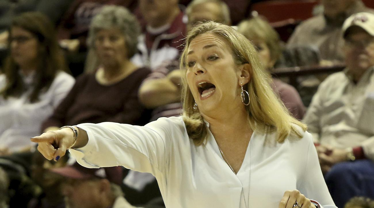Florida head coach Amanda Butler shouts instructions to her team during the first half of an NCAA college basketball game against Mississippi State in Starkville, Miss., Thursday, Jan. 12, 2017. No. 4 Mississippi State won 82-49. (AP Photo/Jim Lytle)