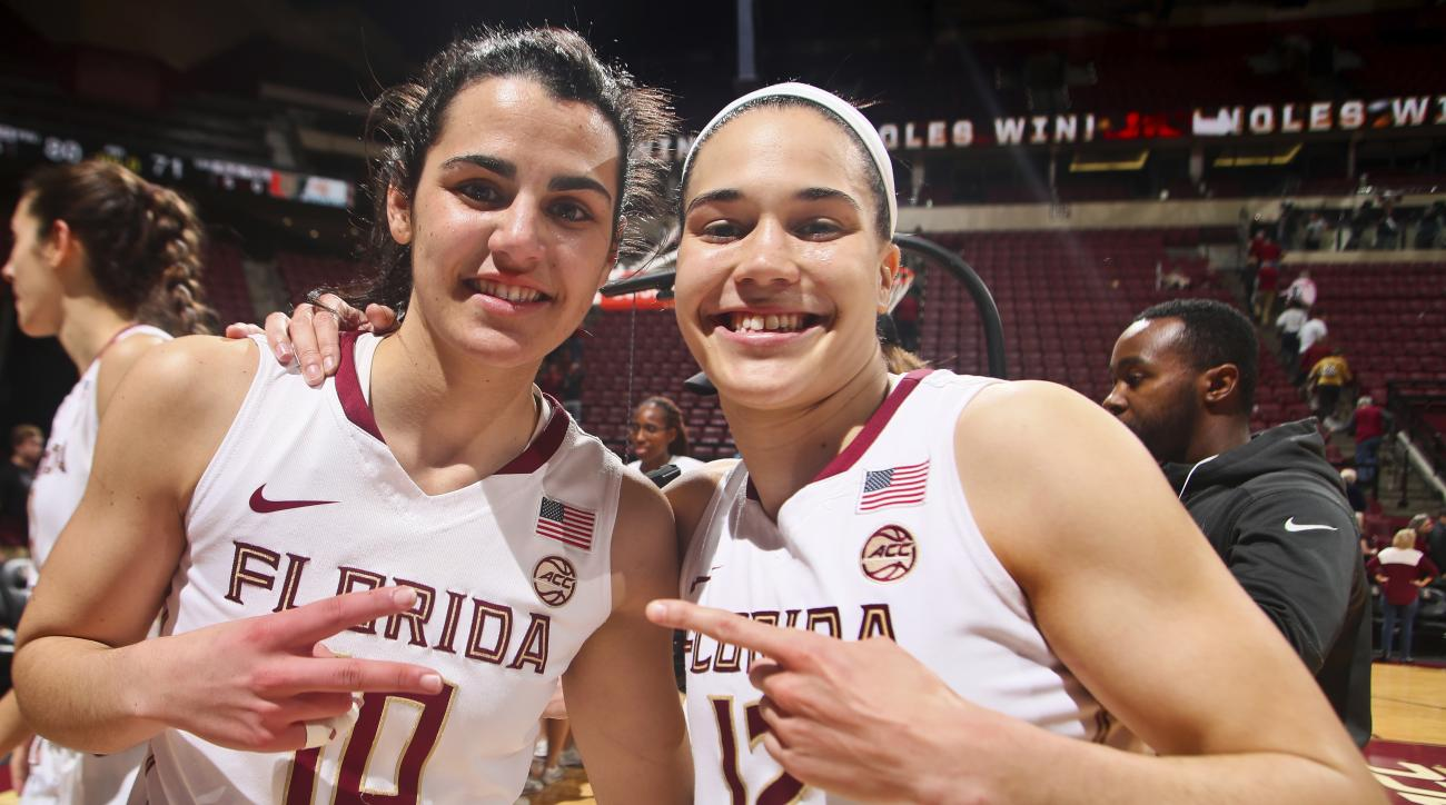 FILE - In this Feb. 6, 2017, file photo, Florida State guards Leticia Romero (10) and Brittany Brown (12) celebrate after an NCAA college basketball game against Miami in Tallahassee, Fla. Guards Leticia Romero and Brittany Brown are a big reason why Flor