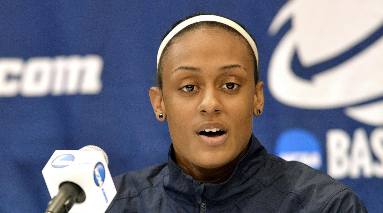 FILE- In this March 21, 2014, file photo, Syracuse' Brittney Sykes answers questions during a news conference at the NCAA women's college basketball tournament in Lexington, Ky., Friday, March 21, 2014.  When Syracuse coach Quentin Hillsman makes out his