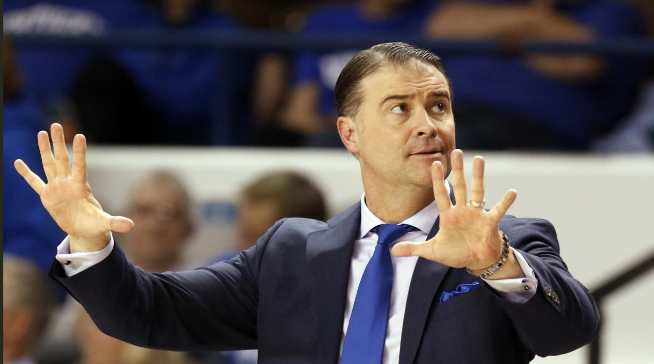 FILE - This Feb. 2, 2017 file photo shows Kentucky head coach Matthew Mitchell directing his team during the third quarter of an NCAA college basketball game against South Carolina in Lexington, Ky. Kentucky has overcome an exodus of nearly half its roast