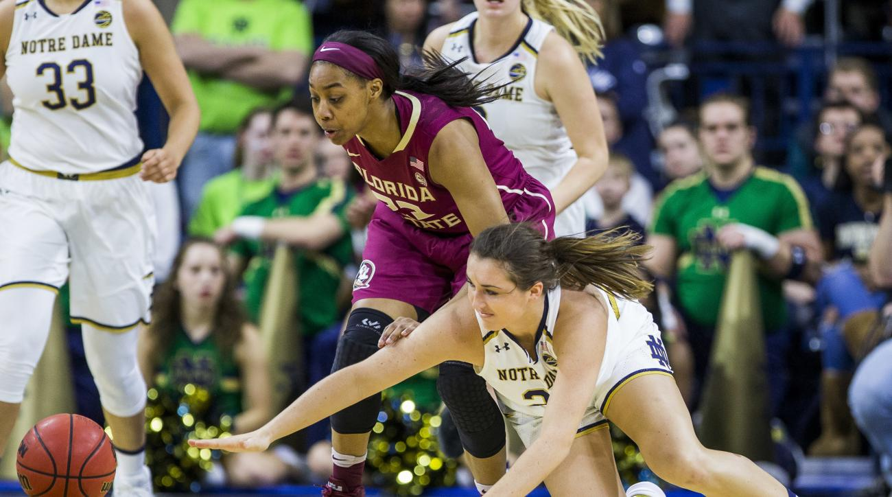 Notre Dame's Erin Boley, right, competes for the ball with Florida State's Ivey Slaughter during the second half of an NCAA college basketball game Sunday, Feb. 26, 2017, in South Bend, Ind. (AP Photo/Robert Franklin)