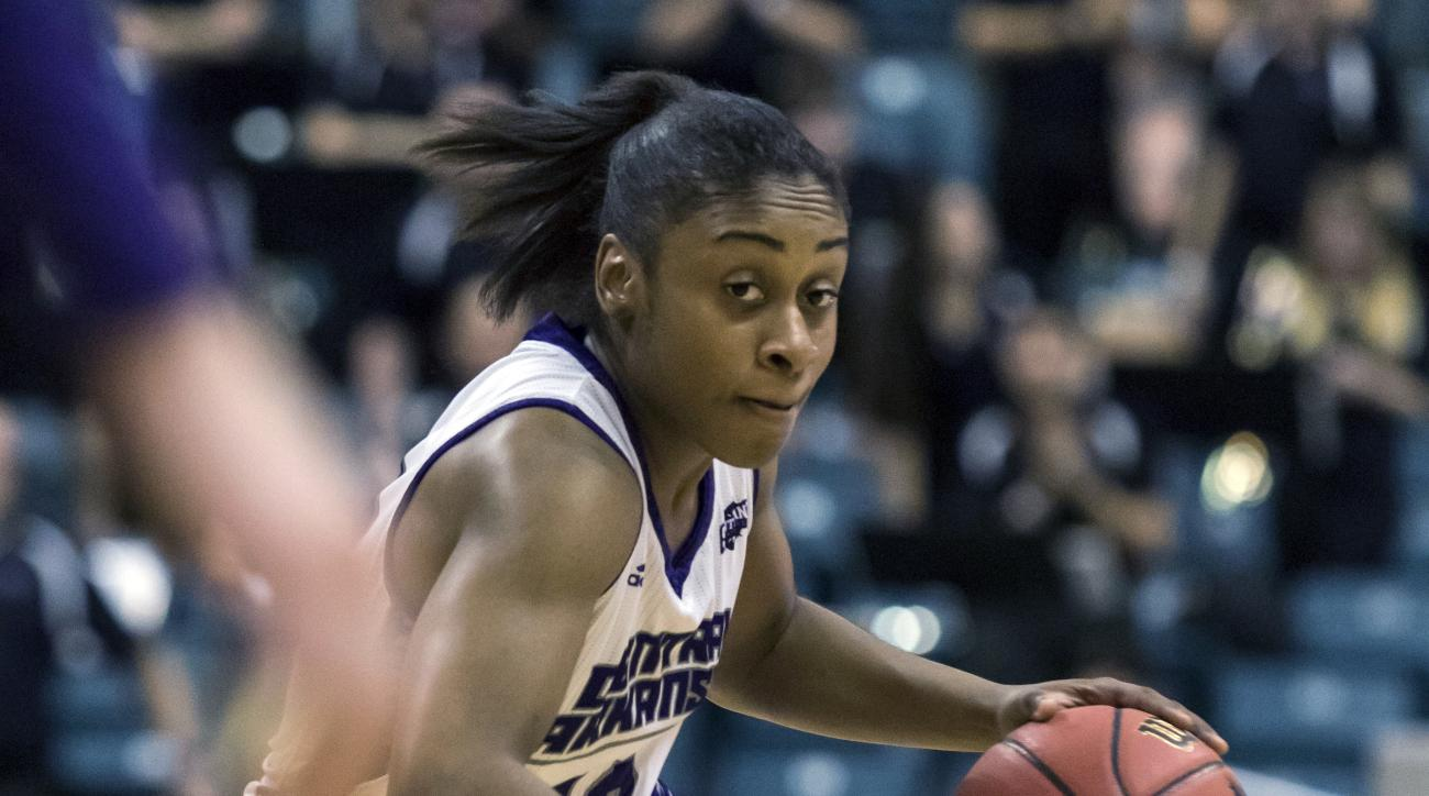 Central Arkansas' Brianna Mullins (10) dribbles the ball up the court in the second half of an NCAA college basketball game in the championship of the Southland Conference tournament, Sunday, March 12, 2017, in Katy, Texas. (AP Photo/Joe Buvid)