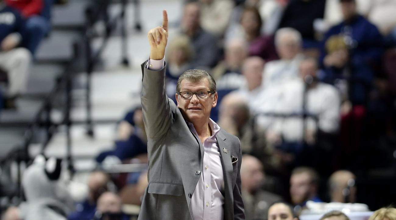 FILe - In this March 6, 2017, file photo, Connecticut head coach Geno Auriemma gestures to his team during the first half of an NCAA college basketball game against South Florida in the American Athletic Conference tournament finals in Uncasville, Conn. U