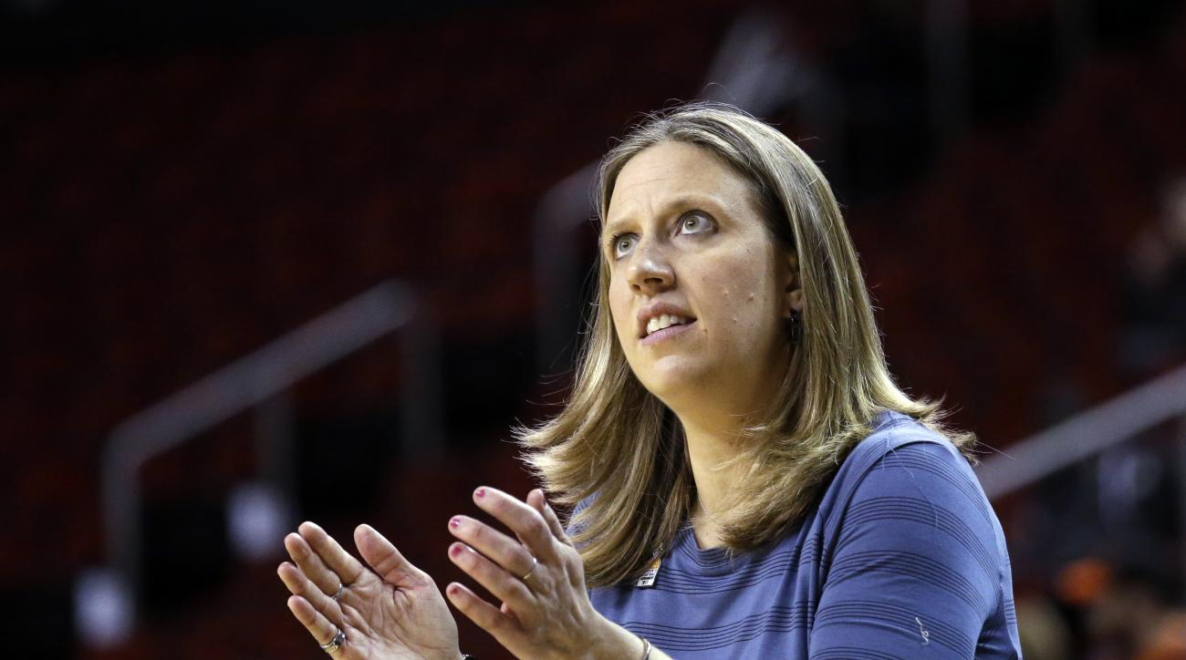 In this Thursday, March 2, 2017, photo, California head coach Lindsay Gottlieb directs her team against Southern California in an NCAA college basketball game in the Pac-12 Conference tournament in Seattle. It was a really special 24 hours for Cal coach G