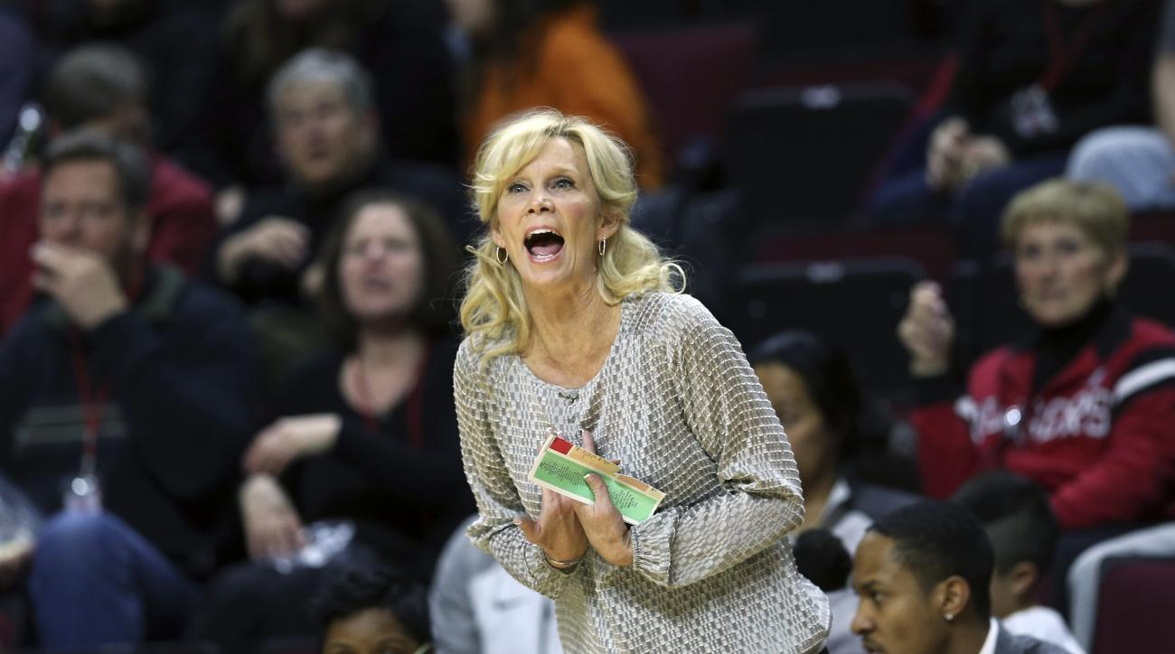 In this Thursday, Feb. 18, 2016, photo, Michigan State coach Suzy Merchant reacts as she is called for a technical foul during the first half of an NCAA college basketball game against Rutgers in Piscataway, N.J. Merchant is trying to enjoy this year's tr
