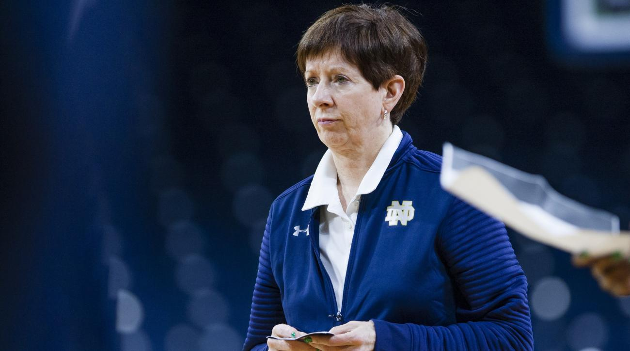 Notre Dame head coach Muffet McGraw watches during a practice at Purcell Pavilion in South Bend, Ind. Thursday, March 16, 2017 in advance of the first round of the NCAA Division 1 Women's Basketball Tournament hosted by Notre Dame. (Michael Caterina/South